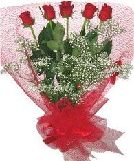 5 adet kirmizi gülden buket tanzimi  Adana çiçek yolla çiçek yolla