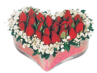 Adana çiçek yolla çiçekçi telefonları  mika kalpte kirmizi güller 9