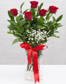 cam vazo içerisinde 5 adet kırmızı gül  Adana çiçek siparişi cicekciler , cicek siparisi