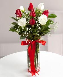 5 kırmızı 4 beyaz gül vazoda  Adana çiçek siparişi cicekciler , cicek siparisi