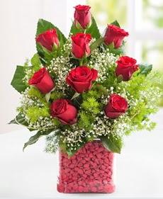 Cam içerisinde 9 adet kırmızı gül  Adana çiçek gönder internetten çiçek satışı
