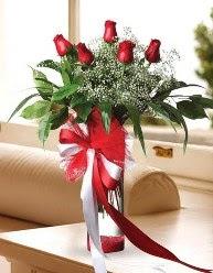 Camda 5 kırmızı gül tanzimi  Adana çiçek yolla çiçekçi telefonları