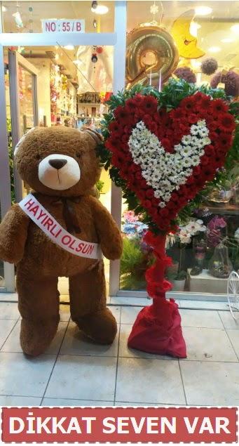 1.5 Metre peluş ayı ve Kalp  Adana çiçek yolla çiçek gönderme sitemiz güvenlidir