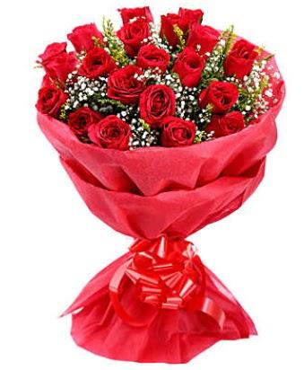 21 adet kırmızı gülden modern buket  Adana çiçek yolla çiçek gönderme