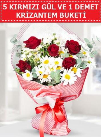5 adet kırmızı gül ve krizantem buketi  Adana çiçek yolla çiçek satışı
