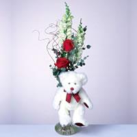2 adet gül ve panda özel  Adana çiçek gönder çiçekçi mağazası