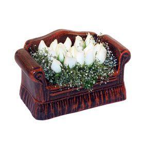 seramik içerisinde 11 gül  Adana çiçek gönder hediye çiçek yolla