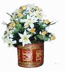 yapay karisik çiçek sepeti   Adana çiçek siparişi cicekciler , cicek siparisi