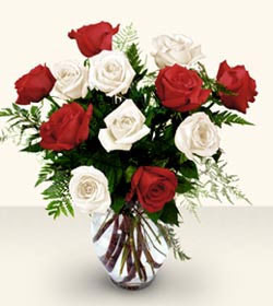 Adana çiçek siparişi uluslararası çiçek gönderme  6 adet kirmizi 6 adet beyaz gül cam içerisinde