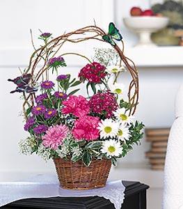 Adana çiçek siparişi cicekciler , cicek siparisi  sepet içerisinde karanfil gerbera ve kir çiçekleri