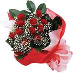 Adana çiçek gönder internetten çiçek satışı  KIRMIZI AMBALAJ BUKETINDE 12 ADET GÜL