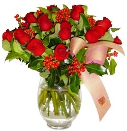 Adana çiçek gönder çiçekçi mağazası  11 adet kirmizi gül  cam aranjman halinde