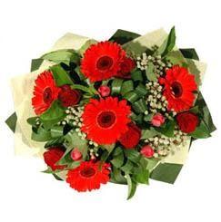 Adana çiçek gönder ucuz çiçek gönder   5 adet kirmizi gül 5 adet gerbera demeti