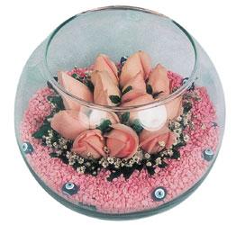 Adana çiçek gönder internetten çiçek satışı  cam fanus içerisinde 10 adet gül
