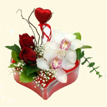 Adana çiçek siparişi hediye sevgilime hediye çiçek  1 kandil orkide 5 adet kirmizi gül mika kalp