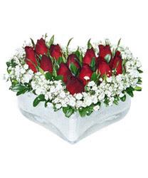 Adana çiçek siparişi internetten çiçek siparişi  mika kalp içerisinde 9 adet kirmizi gül