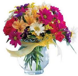 Adana çiçek gönder internetten çiçek satışı  cam yada mika içerisinde karisik mevsim çiçekleri