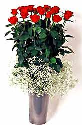 Adana çiçek siparişi cicek , cicekci  9 adet kirmizi gül cam yada mika vazoda