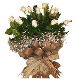 Adana çiçek yolla çiçekçi telefonları  9 adet beyaz gül buketi