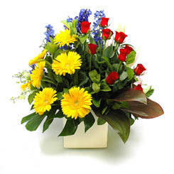 Adana çiçek siparişi online çiçek gönderme sipariş  9 adet gül ve kir çiçekleri cam yada mika vazoda