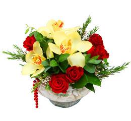 Adana çiçek yolla çiçek gönderme  1 adet orkide 5 adet gül cam yada mikada