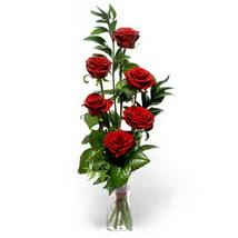 Adana çiçek gönder çiçek siparişi sitesi  cam yada mika vazo içerisinde 6 adet kirmizi gül