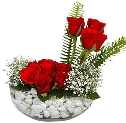 cam içerisinde 9 adet kirmizi gül  Adana çiçek siparişi çiçek siparişi vermek