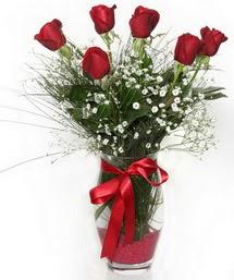 7 adet gülden cam içerisinde güller  Adana çiçek siparişi 14 şubat sevgililer günü çiçek