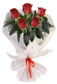 5 adet kirmizi gül buketi  Adana çiçek siparişi çiçekçiler