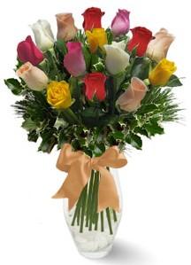 15 adet vazoda renkli gül  Adana çiçek gönder internetten çiçek satışı