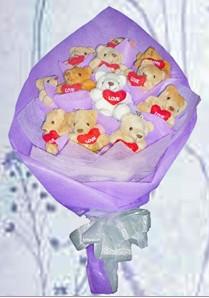 12 adet ayiciktan buket tanzimi  Adana çiçek siparişi güvenli kaliteli hızlı çiçek
