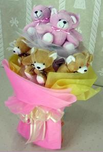 8 adet ayiciktan buket  Adana çiçek siparişi cicek , cicekci