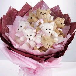 9 adet ayiciktan buket  Adana çiçek siparişi internetten çiçek siparişi