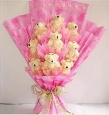 9 adet pelus ayicik buketi  Adana çiçek siparişi anneler günü çiçek yolla