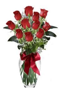 11 adet kirmizi gül vazo mika vazo içinde  Adana çiçek siparişi 14 şubat sevgililer günü çiçek