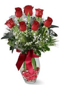 Adana çiçek siparişi internetten çiçek siparişi  7 adet kirmizi gül cam vazo yada mika vazoda