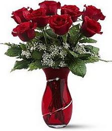 Vazo içinde 8 adet kirmizilar içinde güller  Adana çiçek siparişi internetten çiçek siparişi