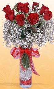 9 adet kirmizi gül cam yada mika vazoda  Adana çiçek siparişi çiçek mağazası , çiçekçi adresleri