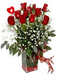 Adana çiçek siparişi çiçek siparişi vermek  9 adet mika yada cam vazoda gül tanzimi kalp çubuk