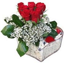 Adana çiçek siparişi güvenli kaliteli hızlı çiçek  kalp mika içerisinde 7 adet kirmizi gül