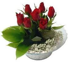 Adana çiçek gönder internetten çiçek satışı  cam yada mika içerisinde 5 adet kirmizi gül