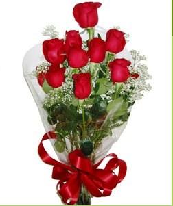Adana çiçek siparişi uluslararası çiçek gönderme  10 adet kırmızı gülden görsel buket
