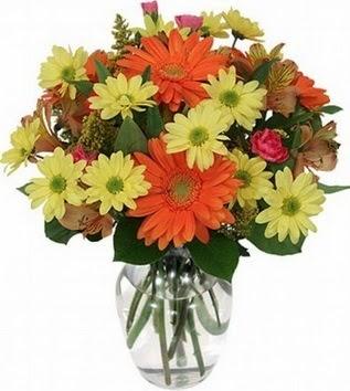 Adana çiçek siparişi hediye sevgilime hediye çiçek  vazo içerisinde karışık mevsim çiçekleri