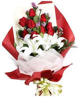 Adana çiçek siparişi çiçekçiler  1 dal kazablankaa 9 adet kırmızı gül buketi