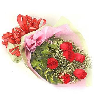 Adana çiçek gönder çiçek , çiçekçi , çiçekçilik  6 adet kırmızı gülden buket