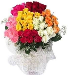 Adana çiçek yolla çiçekçi telefonları  51 adet farklı renklerde gül buketi