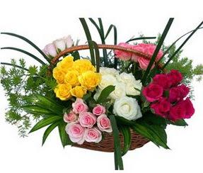 Adana çiçek gönder ucuz çiçek gönder  35 adet rengarenk güllerden sepet tanzimi