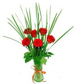 Adana çiçek gönder çiçek , çiçekçi , çiçekçilik  6 adet kırmızı güllerden vazo çiçeği