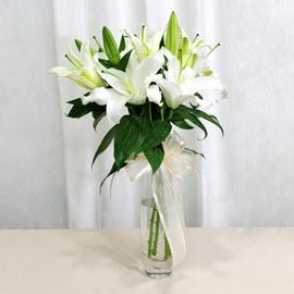 Adana çiçek siparişi anneler günü çiçek yolla  2 dal kazablanka ile yapılmış vazo çiçeği