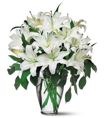 Adana çiçek gönder internetten çiçek satışı  4 dal kazablanka ile görsel vazo tanzimi